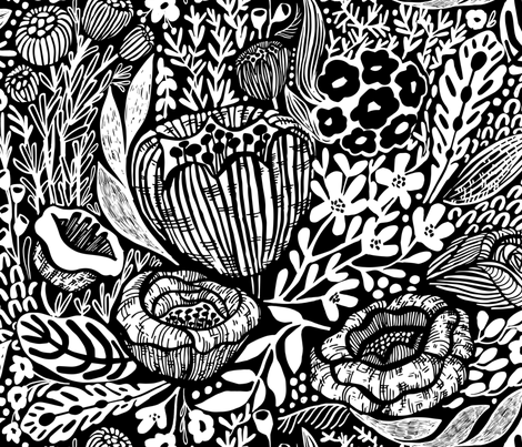 GSonge Black and White Floral  fabric by gsonge on Spoonflower - custom fabric