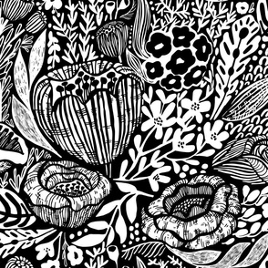 GSonge Black and White Floral