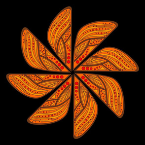 Mandala - Wing in Monarch Colors - Large Scale