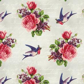 Vintage Rose Bouquet and Bluebirds