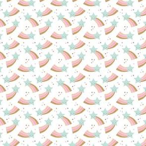 Kawaii magic rainbow love sweet dreams shooting stars make a wish mint pink girls XXS
