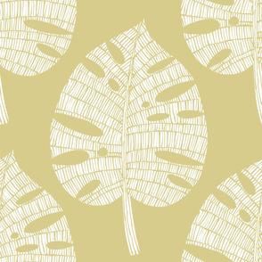 tropical leaf (white on sand)