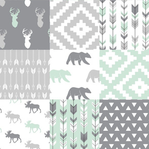 Willow Woods Patchwork Quilt top - grey & mint - woodland