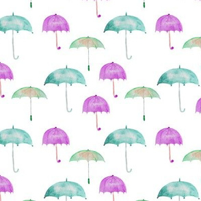 Rain vibes • umbrellas watercolor pattern