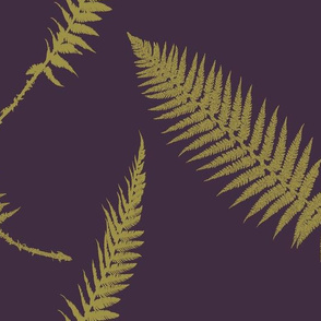 large scale golden ferns on aubergine