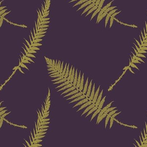 small scale gold ferns on aubergine