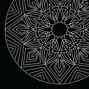 Mandala - Anansi in White on Black - Large Scale