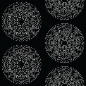 Mandala - Anansi in White on Black - Medium scale
