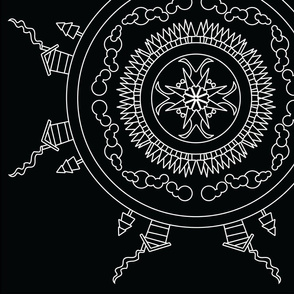 Mandala - Cabin in White on Black - Large Scale