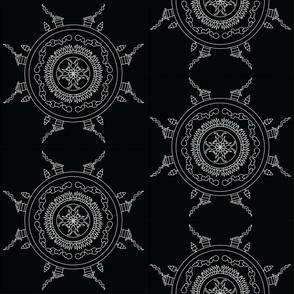Mandala - Cabin in White on Black - Medium Scale