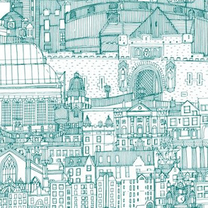 Edinburgh toile teal white