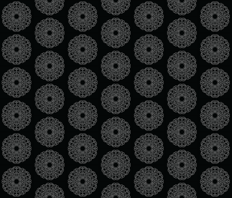 Mandala - Lacey Pizza in White on Black - Small Size fabric by jessicasmithcreates on Spoonflower - custom fabric