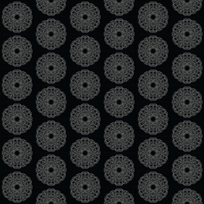 Mandala - Lacey Pizza in White on Black - Small Size