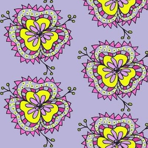 yellow blooms- lavender ground