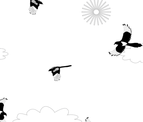 Jumbo Magpies fly in clouds with sun fabric by space_tempo_design on Spoonflower - custom fabric