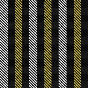 Yellow Black and White Woven Look Stripe