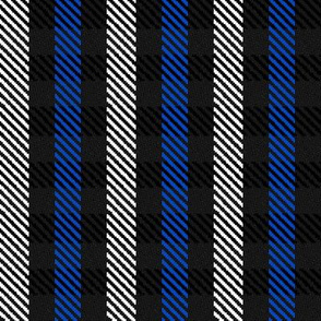 Blue Black and White Woven Look Stripe