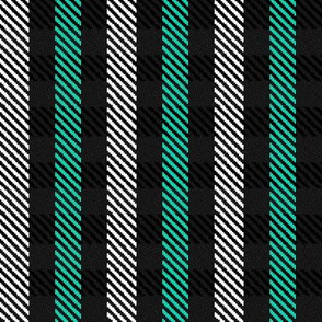 Turquoise Black and White Woven Look Stripe