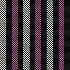 Pink Black and White Woven Look Stripe