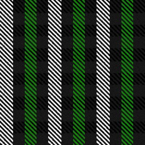 Green Black and White Woven Look Stripe