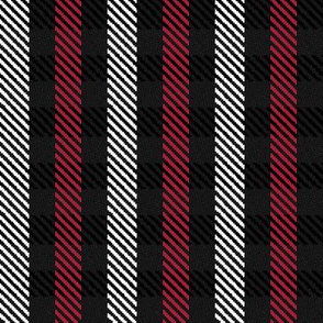 Red Black and White Woven Look Stripe