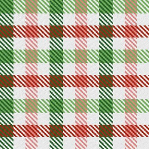 Asymmetric Red Green Pink and White Christmas Plaid