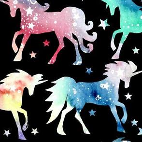 Rainbow galaxy unicorns - black background - rotated