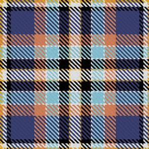 Blue Tan and Gold Plaid