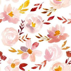 Blush Gold Rust Soft Watercolor Floral