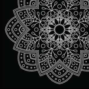 Mandala - Sunflower in White on Black - Large Scale
