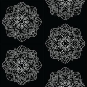 Mandala - Sunflower in White on Black - Medium Scale