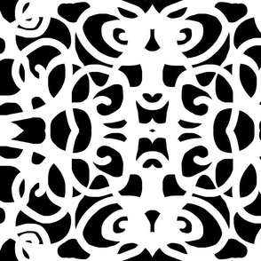 black and white crowned swirls