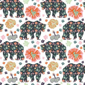 Floral Bear - animal forest woodland creature flower floral botanical jungle tropic winter camping
