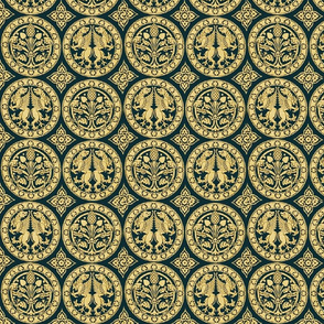 4 Rondels in Gold and Green
