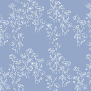 Queen Anne's Lace White on Blue Denim