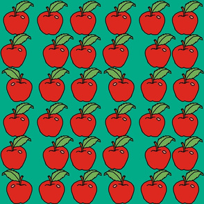 apples on green