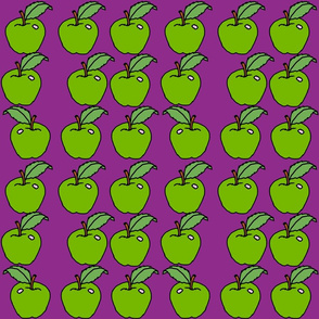 green apples on purple