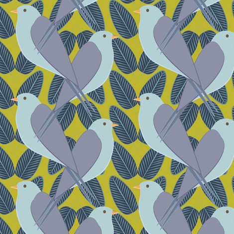 Swallows and Leaves Goldenrod fabric by ttl_kirsten on Spoonflower - custom fabric
