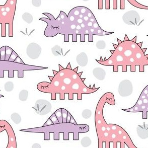 pink and lavender dinos