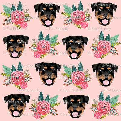 rottweiler floral dog head fabric // floral dog fabric, rottweiler dog fabric, dog breed fabric, dog florals fabric, pet friendly - pink