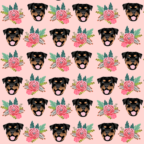 rottweiler floral dog head fabric // floral dog fabric, rottweiler dog fabric, dog breed fabric, dog florals fabric, pet friendly - pink fabric by petfriendly on Spoonflower - custom fabric