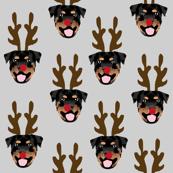 rottweiler christmas pattern fabric // rottweiler reindeer fabric, dog reindeer fabric, santa paws fabric, cute dog fabric - grey