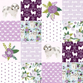 shih tzu cheater quilt fabric - floral dog quilt, cheater quilt fabric, shih tzu quilt, cute dog quilt pet quilt d cheater - purple