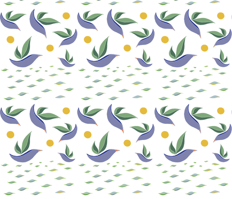 Leaf Birds Swimming and Flying fabric by moon_house on Spoonflower - custom fabric