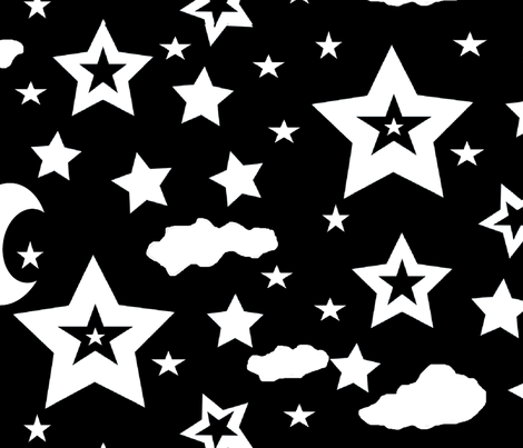 stars moon and clouds for large scale black and white challenge fabric by ruthjohanna on Spoonflower - custom fabric