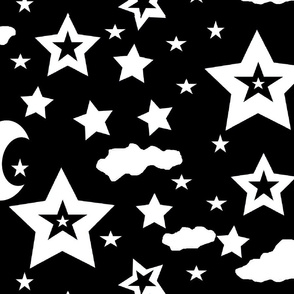 stars moon and clouds for large scale black and white challenge