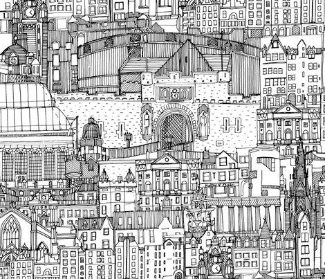 Edinburgh toile black white large fabric by scrummy on Spoonflower - custom fabric