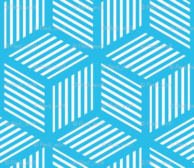 Geometric Pattern: Cube Stripe: Blue