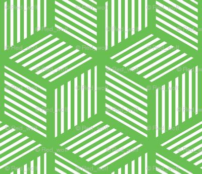 Geometric Pattern: Cube Stripe: Green