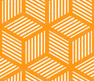 Geometric Pattern: Cube Stripe: Orange
